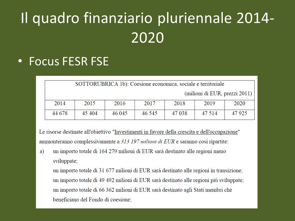 Il quadro finanziario pluriennale 2014-2020