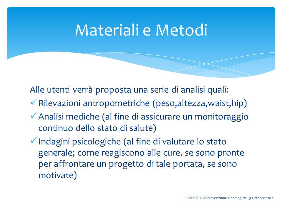 Materiali e Metodi Alle utenti verrà proposta una serie di analisi quali: Rilevazioni antropometriche (peso,altezza,waist,hip)