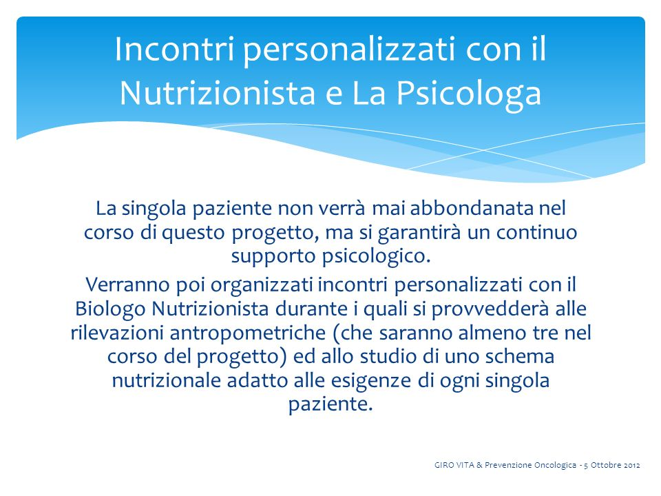 Incontri personalizzati con il Nutrizionista e La Psicologa