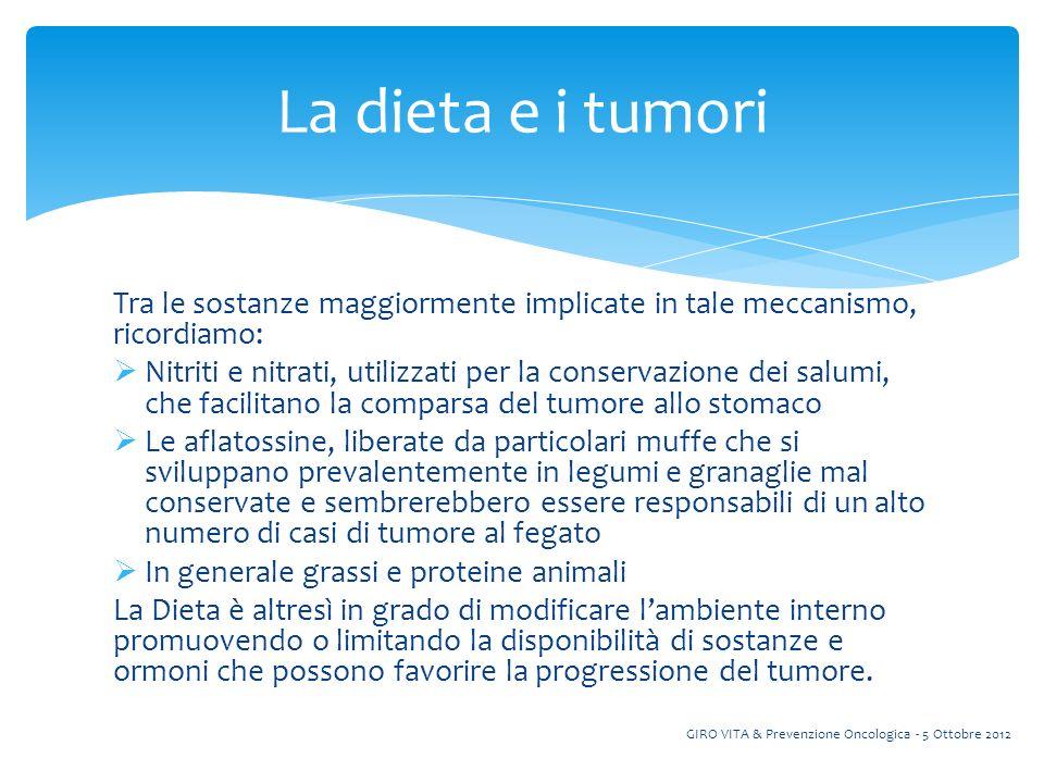 La dieta e i tumori Tra le sostanze maggiormente implicate in tale meccanismo, ricordiamo: