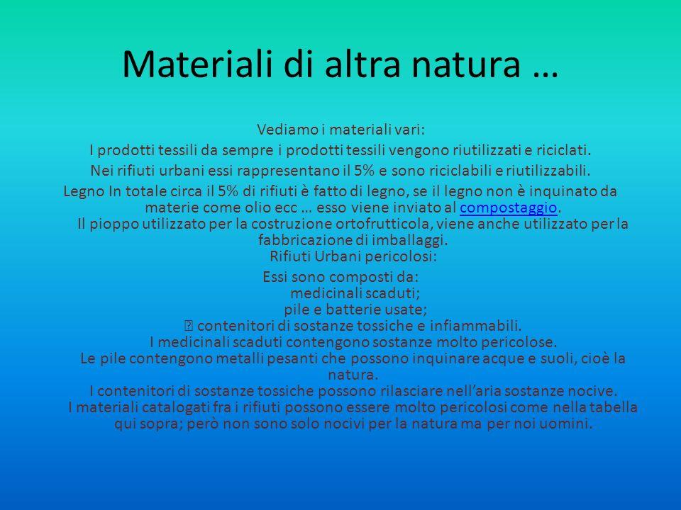 Materiali di altra natura …