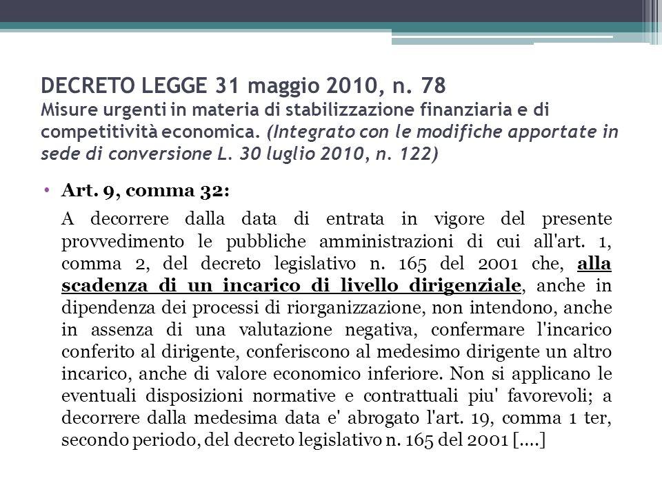 DECRETO LEGGE 31 maggio 2010, n. 78 Misure urgenti in materia di stabilizzazione finanziaria e di competitività economica. (Integrato con le modifiche apportate in sede di conversione L. 30 luglio 2010, n. 122)