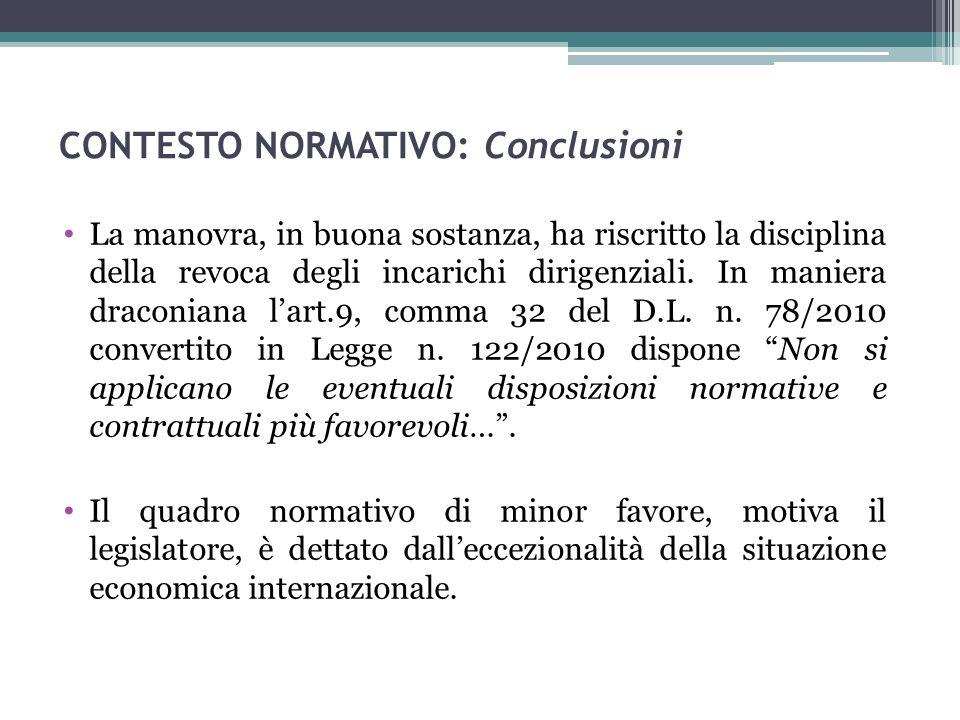 CONTESTO NORMATIVO: Conclusioni