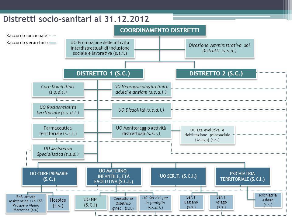 Distretti socio-sanitari al 31.12.2012