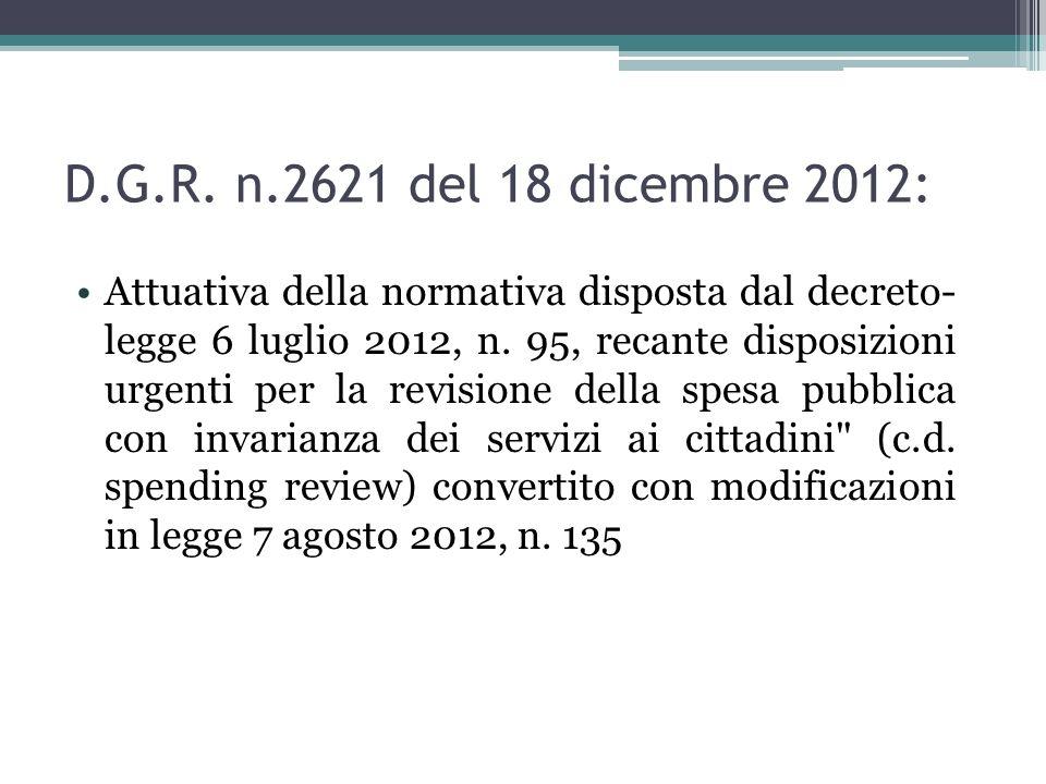 D.G.R. n.2621 del 18 dicembre 2012: