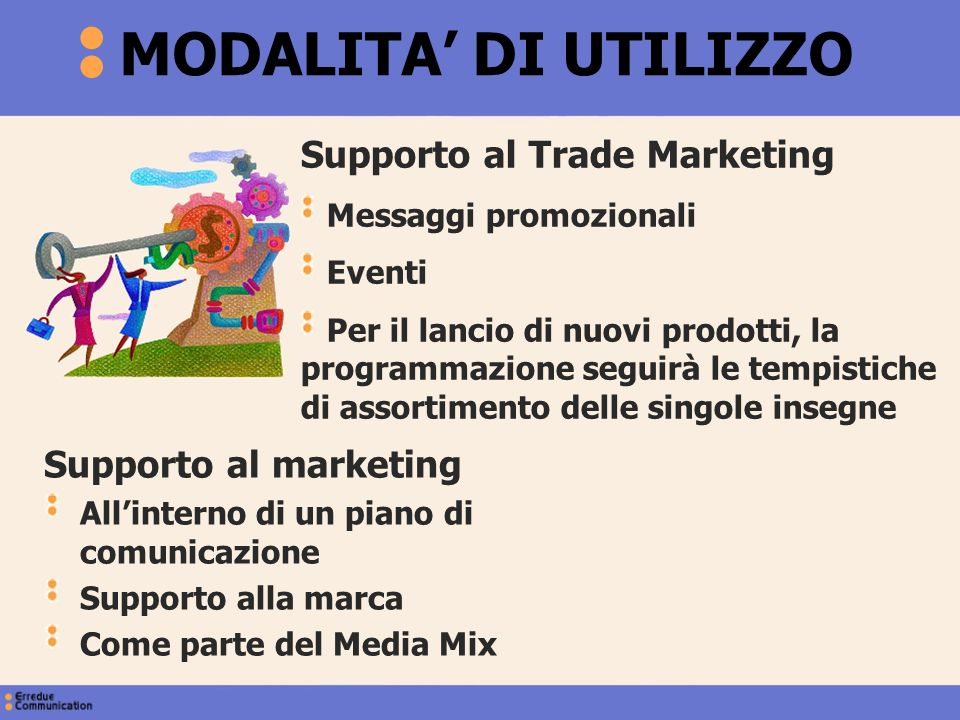 MODALITA' DI UTILIZZO Supporto al Trade Marketing