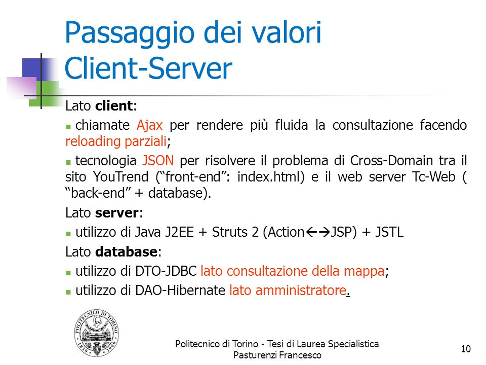 Passaggio dei valori Client-Server