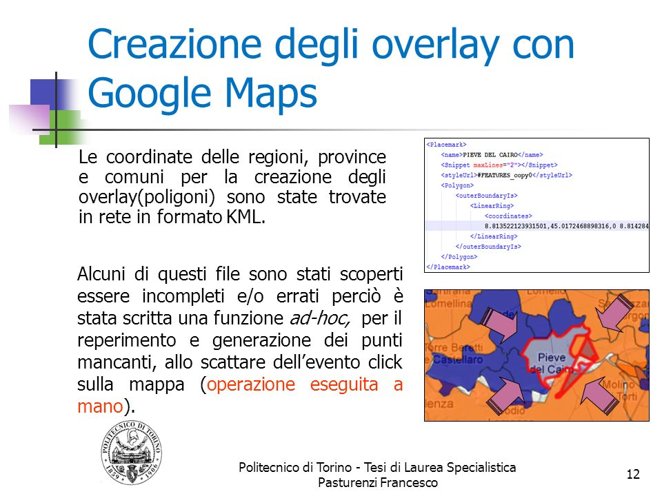 Creazione degli overlay con Google Maps