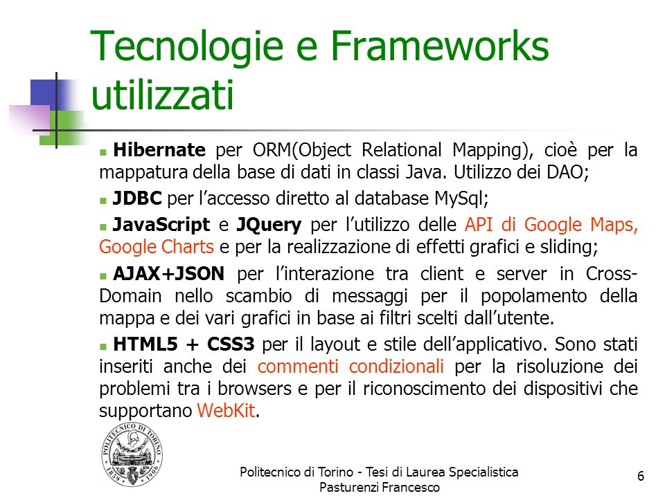 Tecnologie e Frameworks utilizzati
