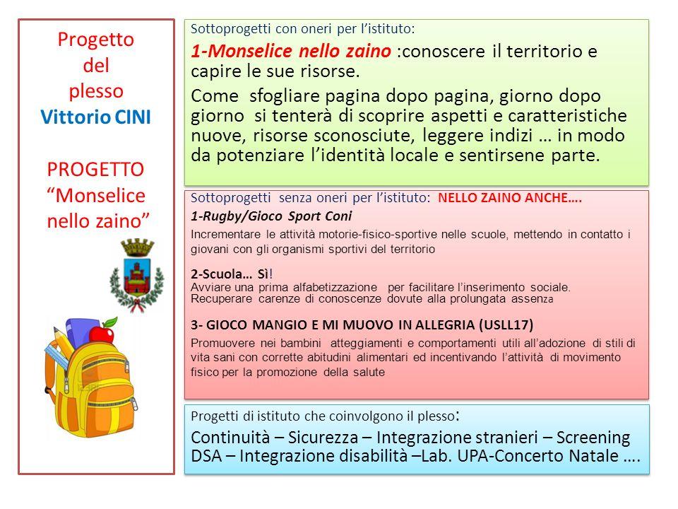 Progetto del plesso Vittorio CINI PROGETTO Monselice nello zaino