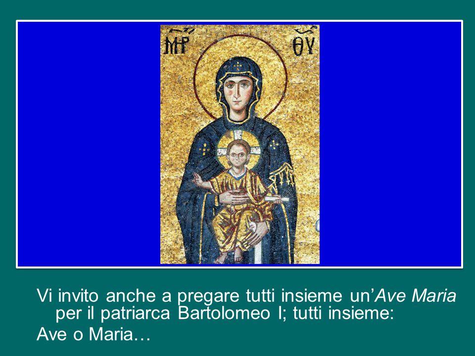 Vi invito anche a pregare tutti insieme un'Ave Maria per il patriarca Bartolomeo I; tutti insieme: Ave o Maria…