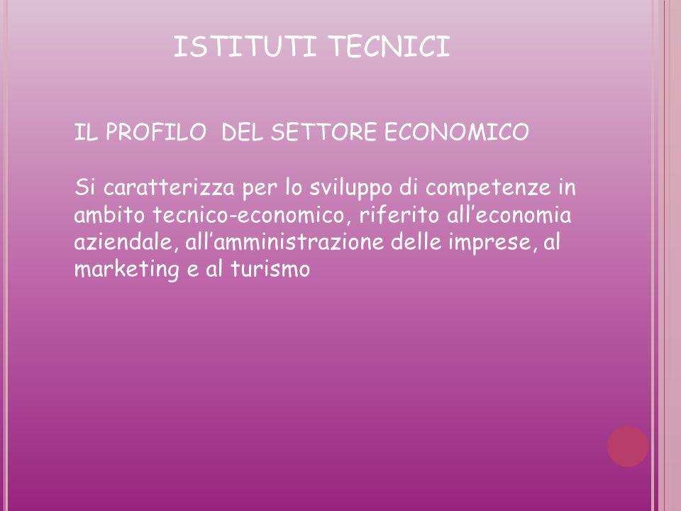 ISTITUTI TECNICI IL PROFILO DEL SETTORE ECONOMICO