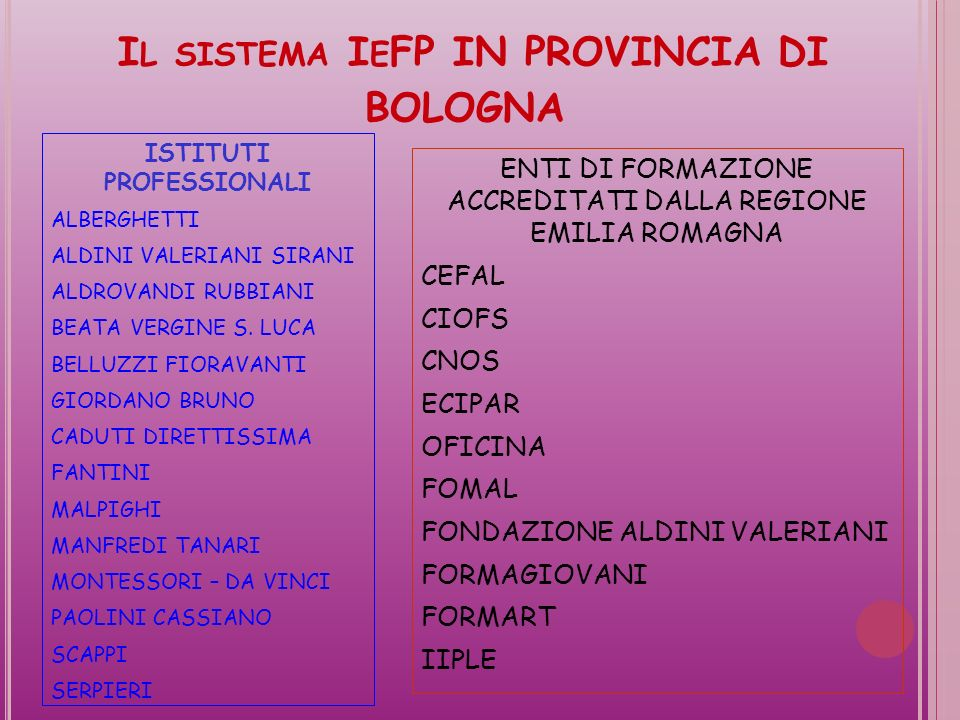 Il sistema IeFP IN PROVINCIA DI BOLOGNA