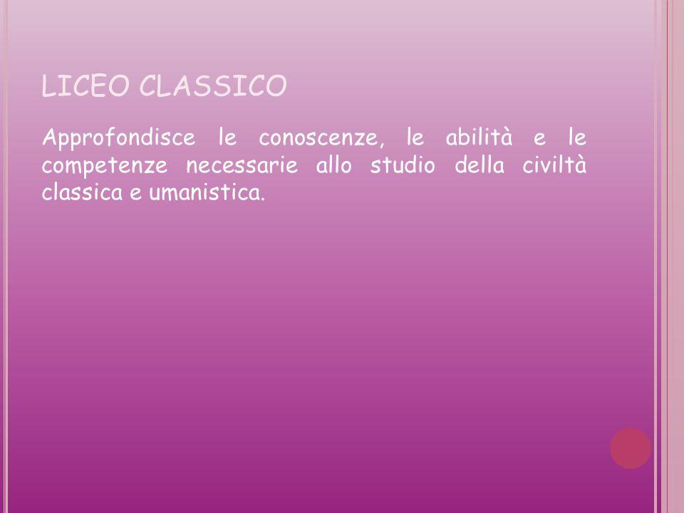 LICEO CLASSICO Approfondisce le conoscenze, le abilità e le competenze necessarie allo studio della civiltà classica e umanistica.