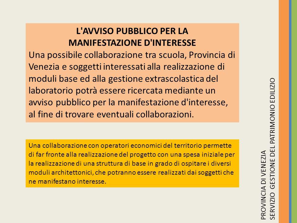 L AVVISO PUBBLICO PER LA MANIFESTAZIONE D INTERESSE