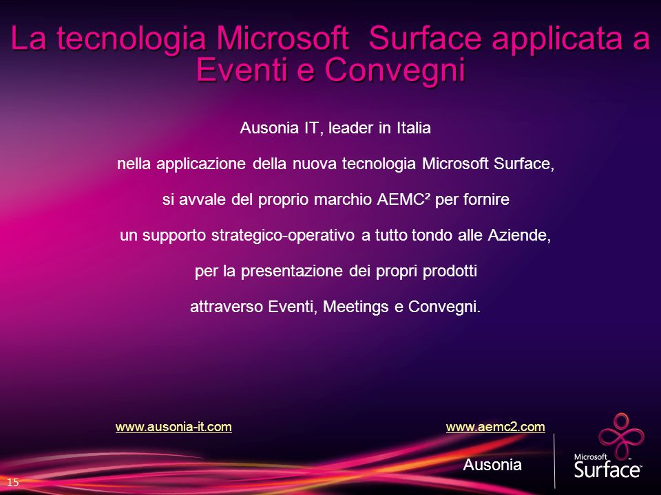 La tecnologia Microsoft Surface applicata a Eventi e Convegni