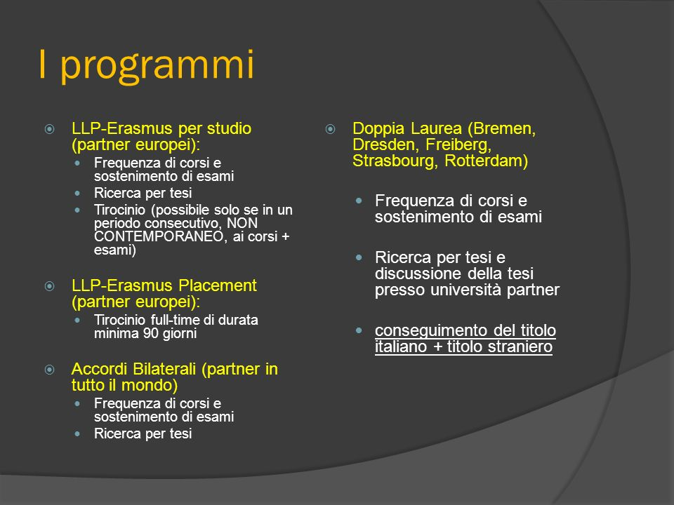 I programmi LLP-Erasmus per studio (partner europei):