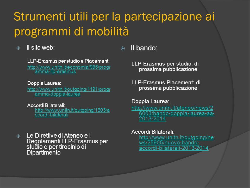 Strumenti utili per la partecipazione ai programmi di mobilità