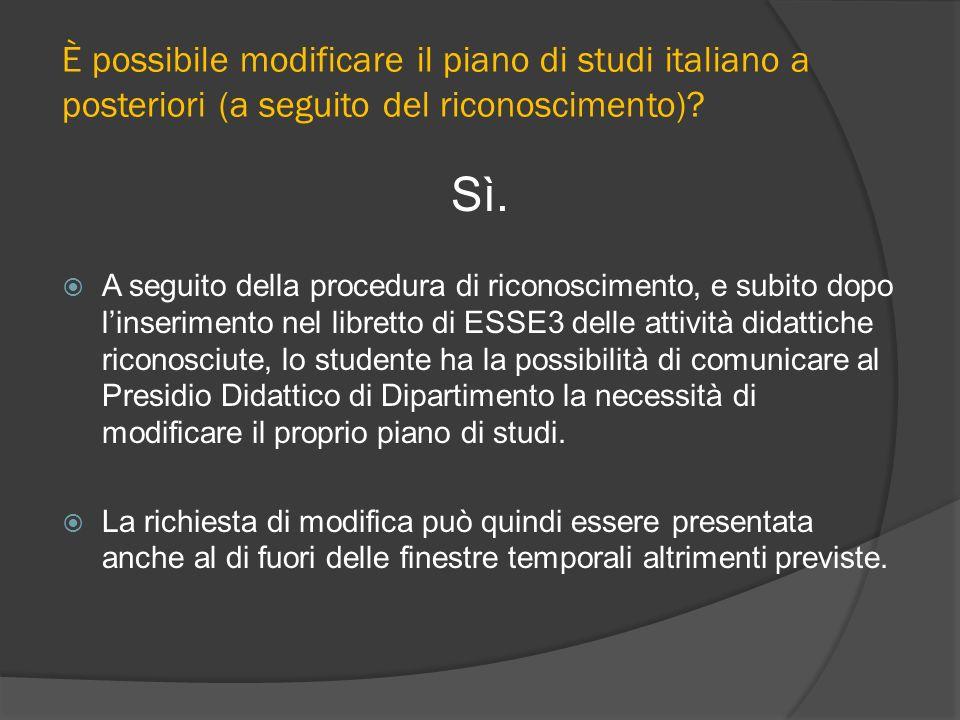 È possibile modificare il piano di studi italiano a posteriori (a seguito del riconoscimento)