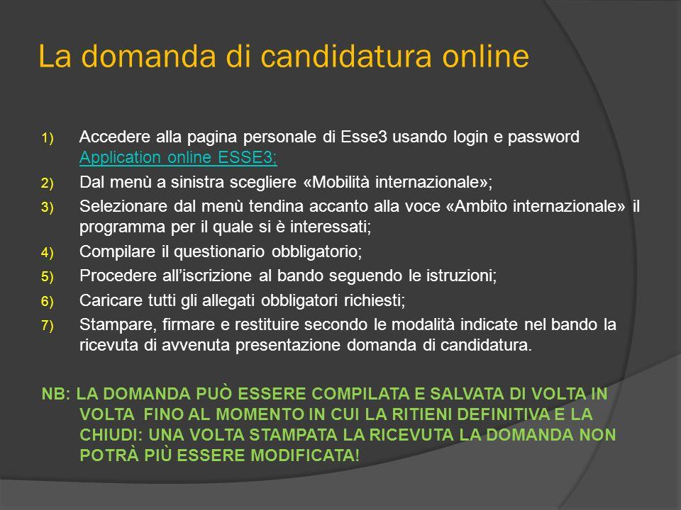 La domanda di candidatura online