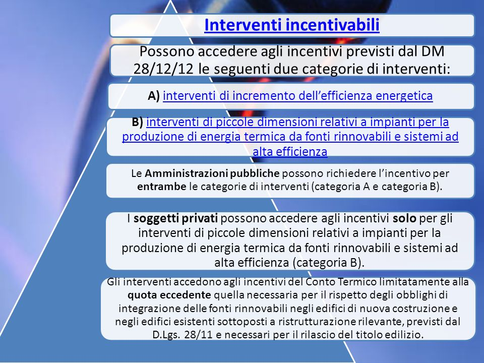 Interventi incentivabili