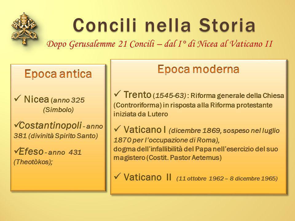 Dopo Gerusalemme 21 Concili – dal I° di Nicea al Vaticano II