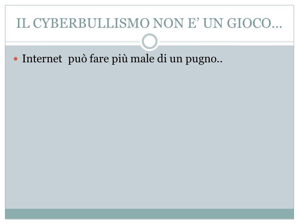 IL CYBERBULLISMO NON E' UN GIOCO...