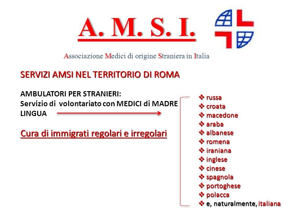 SERVIZI AMSI NEL TERRITORIO DI ROMA