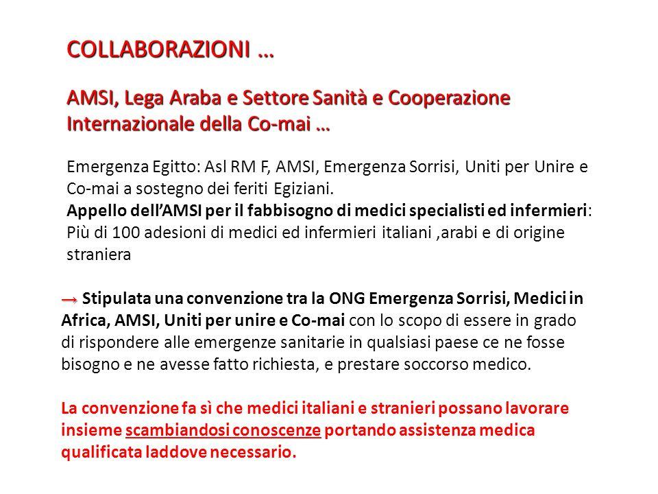 COLLABORAZIONI … AMSI, Lega Araba e Settore Sanità e Cooperazione Internazionale della Co-mai …