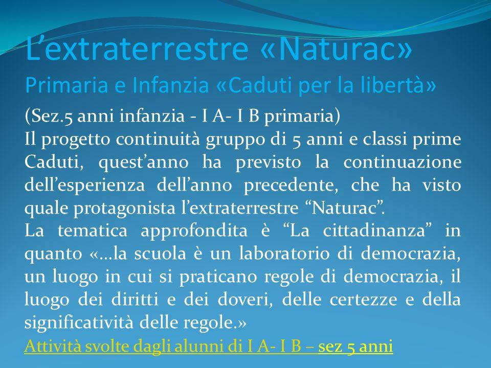 L'extraterrestre «Naturac» Primaria e Infanzia «Caduti per la libertà»