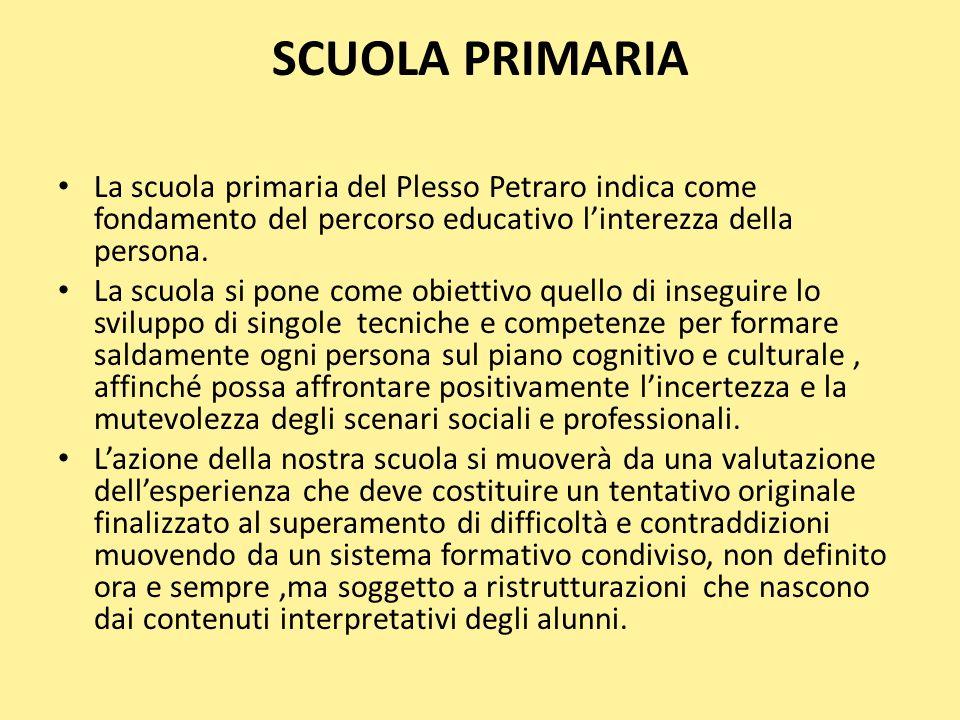 SCUOLA PRIMARIA La scuola primaria del Plesso Petraro indica come fondamento del percorso educativo l'interezza della persona.