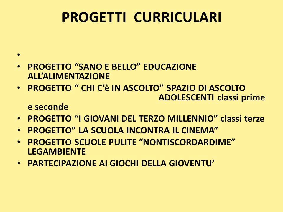 PROGETTI CURRICULARI PROGETTO SANO E BELLO EDUCAZIONE ALL'ALIMENTAZIONE.