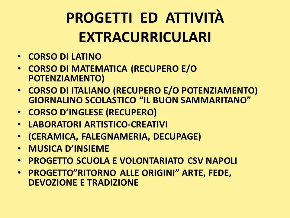 PROGETTI ED ATTIVITÀ EXTRACURRICULARI