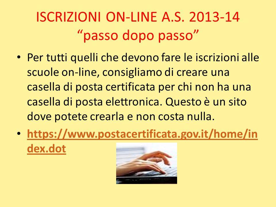 ISCRIZIONI ON-LINE A.S. 2013-14 passo dopo passo