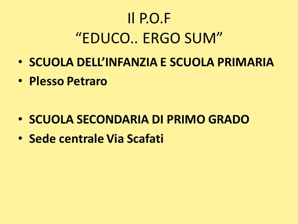 Il P.O.F EDUCO.. ERGO SUM SCUOLA DELL'INFANZIA E SCUOLA PRIMARIA