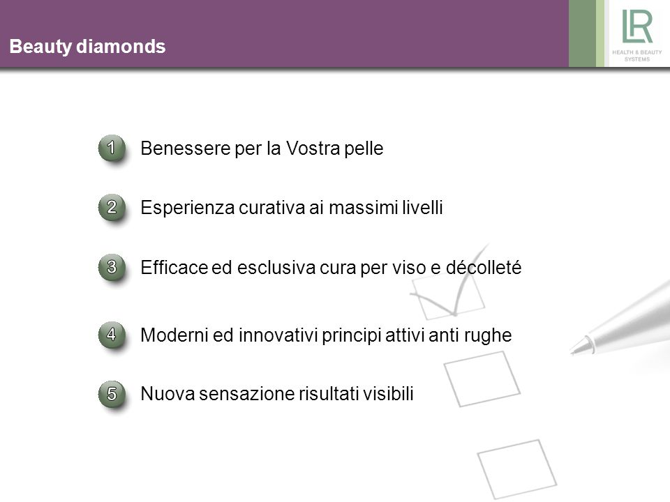 1 2 3 4 5 Beauty diamonds Benessere per la Vostra pelle