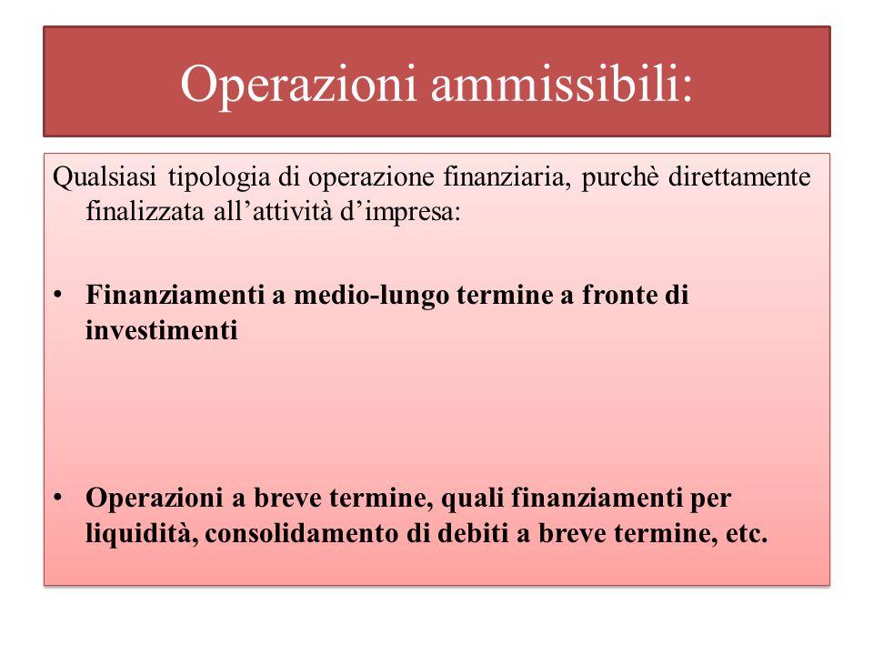Operazioni ammissibili: