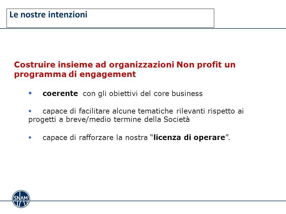 Le nostre intenzioni Costruire insieme ad organizzazioni Non profit un programma di engagement. coerente con gli obiettivi del core business.