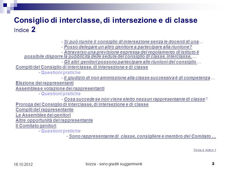Consiglio di interclasse, di intersezione e di classe Indice 2