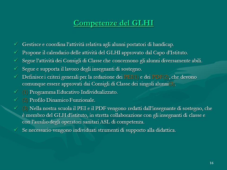 Competenze del GLHI Gestisce e coordina l'attività relativa agli alunni portatori di handicap.