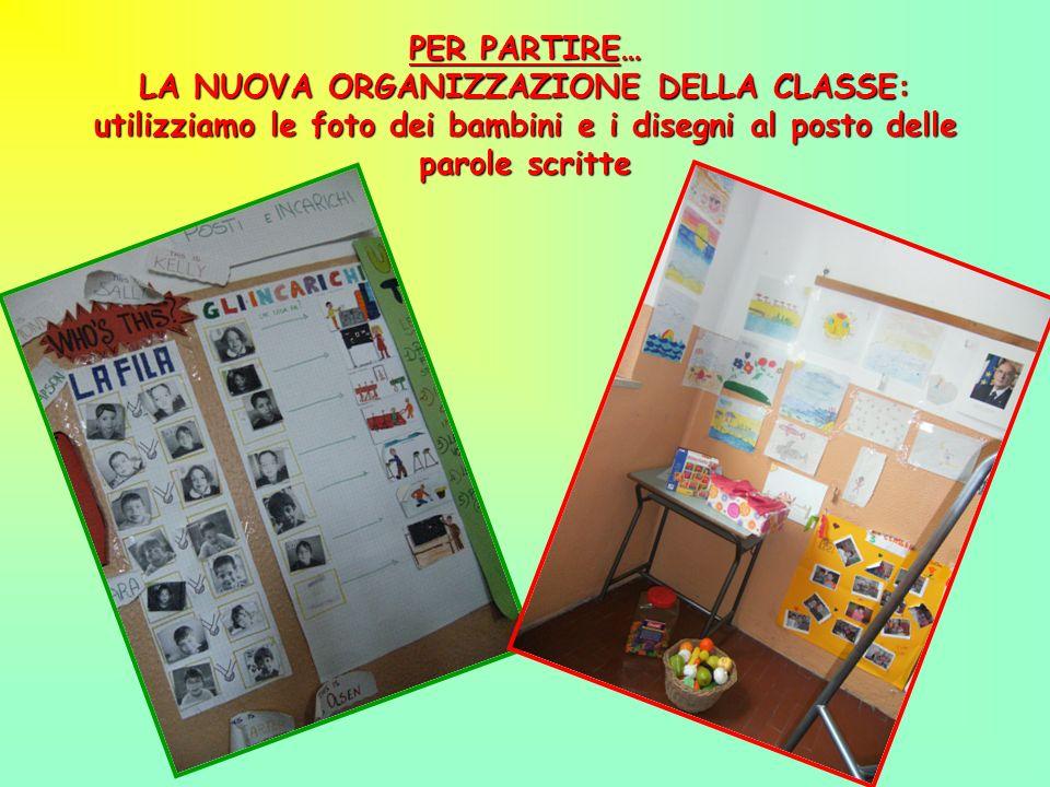 PER PARTIRE… LA NUOVA ORGANIZZAZIONE DELLA CLASSE: utilizziamo le foto dei bambini e i disegni al posto delle parole scritte