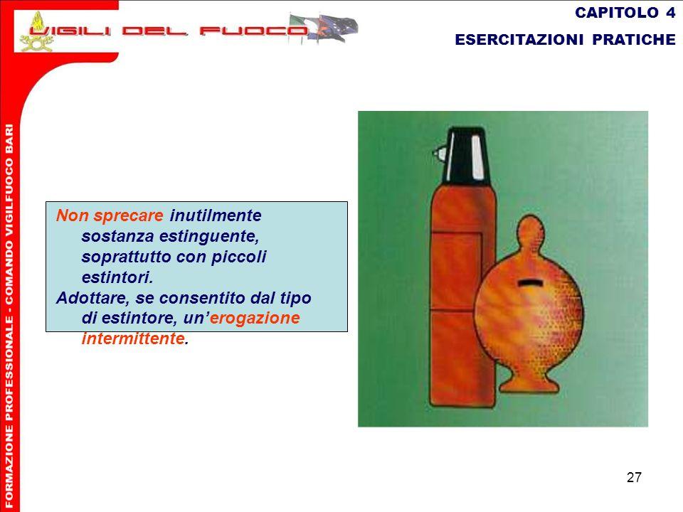 CAPITOLO 4 ESERCITAZIONI PRATICHE. Non sprecare inutilmente sostanza estinguente, soprattutto con piccoli estintori.