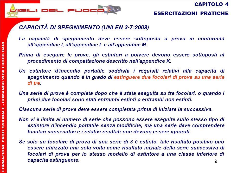 CAPACITÀ DI SPEGNIMENTO (UNI EN 3-7:2008)