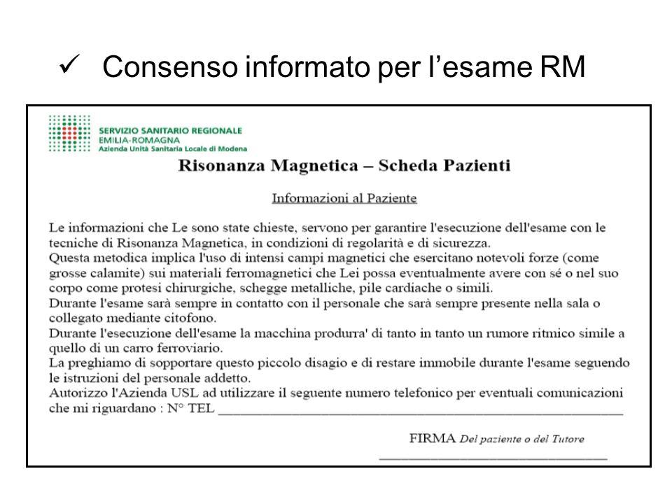 Consenso informato per l'esame RM
