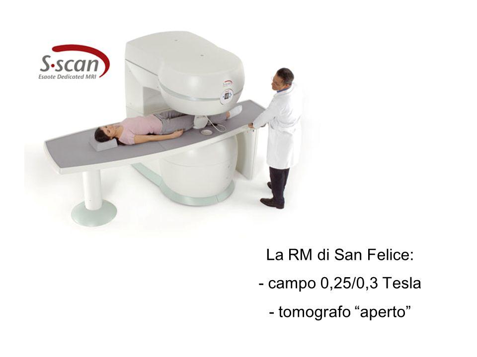 La RM di San Felice: - campo 0,25/0,3 Tesla - tomografo aperto