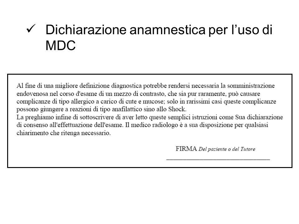 Dichiarazione anamnestica per l'uso di MDC