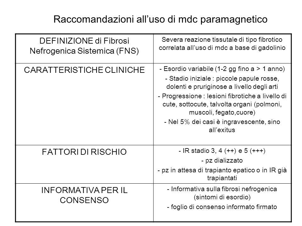 Raccomandazioni all'uso di mdc paramagnetico