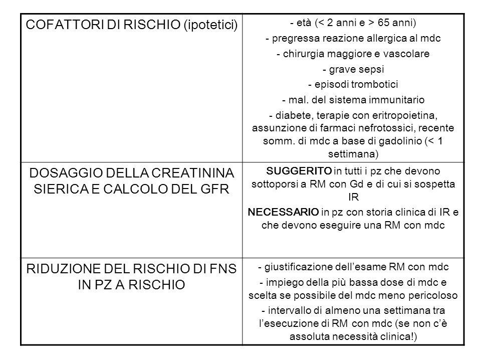COFATTORI DI RISCHIO (ipotetici)