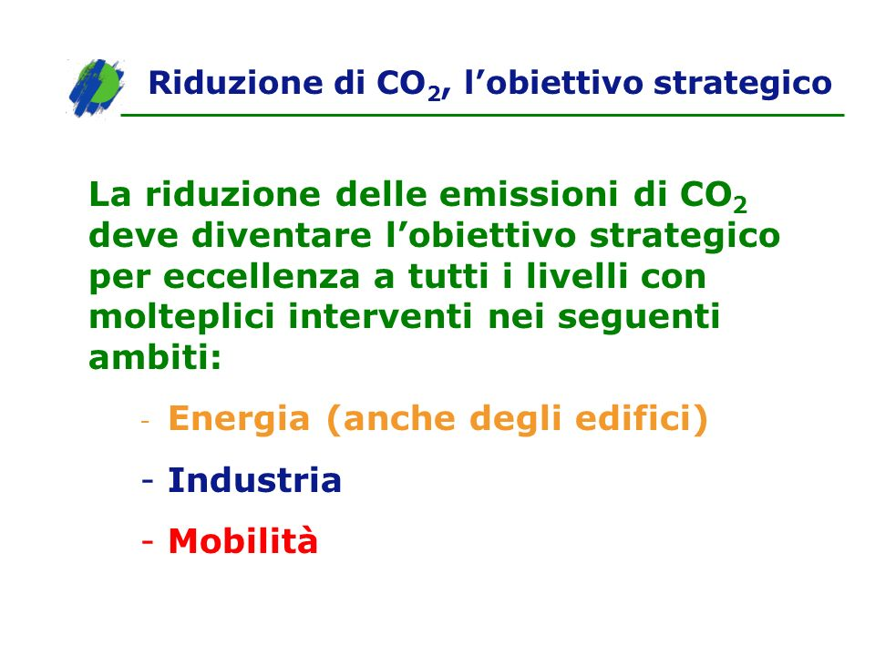 Riduzione di CO2, l'obiettivo strategico