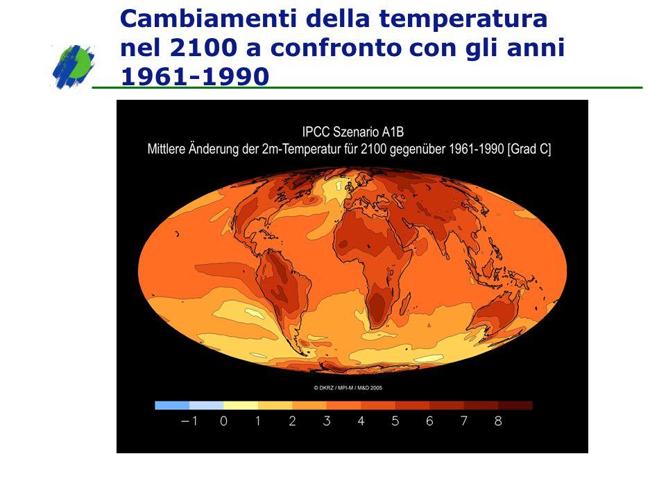 Cambiamenti della temperatura nel 2100 a confronto con gli anni 1961-1990